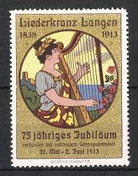 Reklamemarke Langen, Liederkranz 1913, Musikerin spielt Harfe
