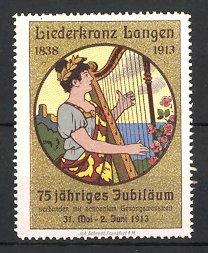 Reklamemarke Langen, 75 jähriges Jubiläum Liederkranz 1913,