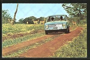 Ansichtskarte Fiat 124 am Äquator, Autoreklame