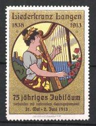 Reklamemarke Langen, Liederkranz 75 jähriges Jubiläum 1913,