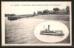 Carte postale Mindin, Le débardadére, péniche Saint-Christophe