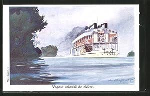 Künstler-Ansichtskarte Vapeur colonial de rivière, Kolonial-Raddampfer
