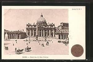 Ansichtskarte Roma-Vaticano, Basilica di San Pietro, Pferdegespanne