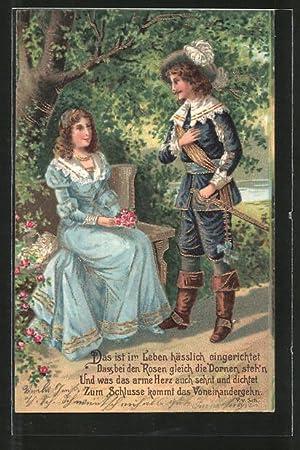 Präge-Ansichtskarte Kavalier verabschiedet sich von der Dame