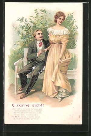 """Präge-Ansichtskarte """"O zürne nicht!"""", Kavalier besänftigt Dame"""