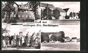 Ansichtskarte Letzlingen, Magdeburger Strasse, Markt, Jagdschloss /