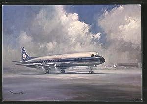 """Künstler-Ansichtskarte Fluggesellschaft """"KLM"""", Flugzeug """"Lockheed Prop-Jet Electra"""""""
