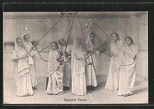 Ansichtskarte Indien, Maypole Dance, Inderinnen beim Tanz