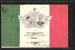 Cartolina Marcia Reale Italiana, König und Königin