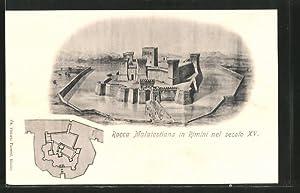 Cartolina Rimini, Rocca Malatestiana nel secolo XV