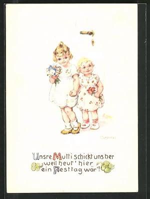 """Künstler-Ansichtskarte Franziska Schenkel: Kleine Gratulantinnen, """"Unsere Mutti"""
