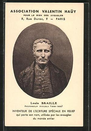 Ansichtskarte Louis Braille, Professeur Aveugle, Erfinder der