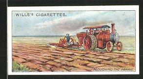 Sammelbild London, Will's Cigarettes, Imperial Tobacco Co., Ploughing the Prairie, Traktor mit Da...