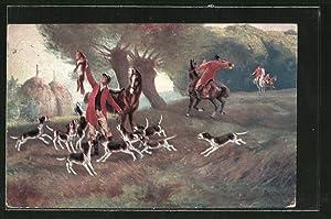 Künstler-Ansichtskarte Robert Kämmerer: Fuchsjagd, Hundemeute und Reiter
