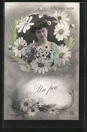 Fotomontage-Ansichtskarte Je vous aime, Un peu, Dame