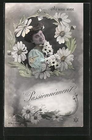 Fotomontage-Ansichtskarte Je vous aime, Passionément, Dame in
