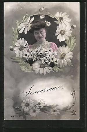 Fotomontage-Ansichtskarte Je vous aime, Dame in Blumenrahmen