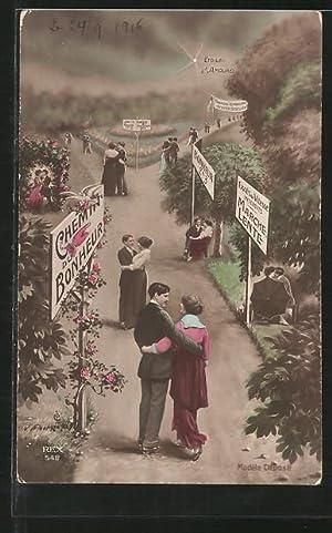 Fotomontage-Ansichtskarte Chemin du Bonheur., Liebespaare im Park