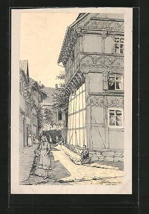 Ansichtskarte Osterwieck, Alte Holzbauten, Blick vom Hagen