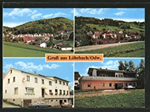 Ansichtskarte Löhrbach, Gasthaus zum Odenwald, Ortsansichten