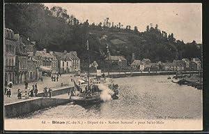 "Carte postale Dinan, départ du ""Robert Surcouf"""