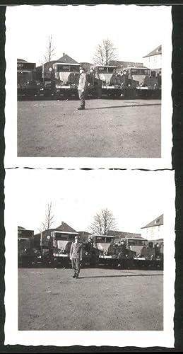 2 Fotografien LKW MAN, Soldat im Bundeswehr-Fuhrpark