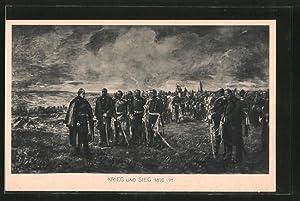 Künstler-Ansichtskarte Krieg und Sieg 1870-71, Kaiser Wilhelm