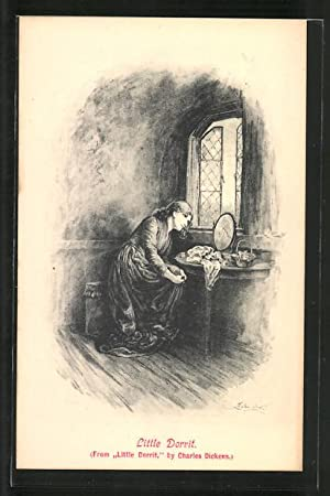 Künstler-Ansichtskarte Charles Dickens, Little Dorrit, Mädchen am