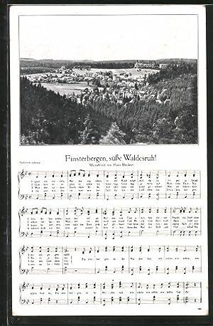 Ansichtskarte Finsterbergen, Ortspanorama, Text- und Notenzeile vom