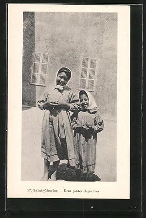 Ansichtskarte Saint-Charles, Deux petits Orphelines, Nordafrikanische Waisenmädchen