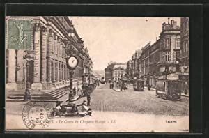 Ansichtskarte Bordeaux, le cours du Chapeau-Rouge, Strassenbahnen