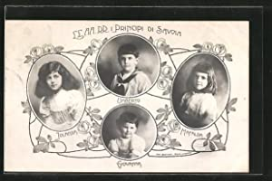 Cartolina Principi di Savoia, Umberto, Mafalda, Jolanda,