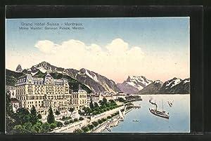 Ansichtskarte Montreux, Dampfer vor dem Grand Hotel