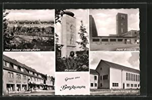 Ansichtskarte Bergkamen, Ehrenmal, Präsidentenstrasse, Bodelshwingh-Haus, Zeche Grimberg