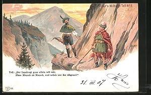Künstler-Ansichtskarte Schiller's Wilhelm Tell, Tell und der