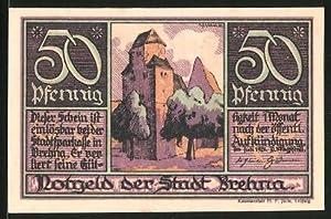 Notgeld Brehna 1921, 50 Pfennig, Kirchenmotiv, Luther