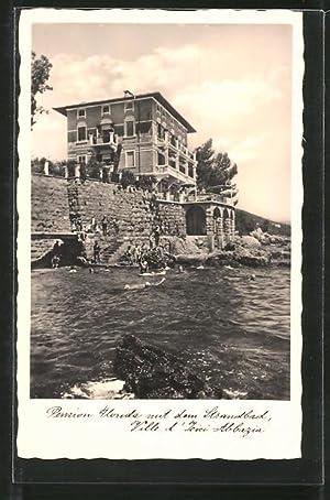 Ansichtskarte Abbazia, Pension Florida mit dem Strandbad