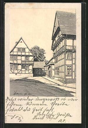 Ansichtskarte Osterwieck, Alte Holzbauten, Eingang in den