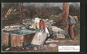 Ansichtskarte Eigoibar, Escenas Vascas Idilio temprano, Waschfrau