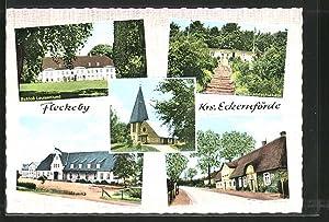 Ansichtskarte Fleckeby, Schloss Louisenlund, Landschulheim, Schule, Strassenpartie