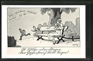 Künstler-Ansichtskarte Ferdinand Barlog: Ob Schütze oder Flieger,