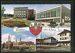 Ansichtskarte Walsum, Rathaus, Sporthalle, Schacht, Franz-Lenze-Platz