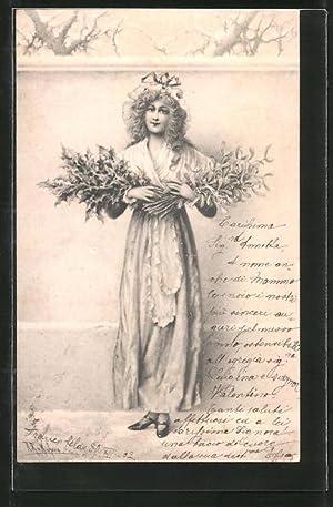 Künstler-Ansichtskarte Wichera: Frau mit Mistel- und Stechpalmenzweigen