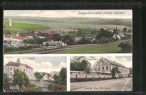 Ansichtskarte Langenhennersdorf, Gasthof von Otto Gasch, Schule