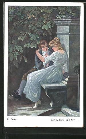 """Künstler-Ansichtskarte O. Peter: """"Lang, lang ist's her"""","""