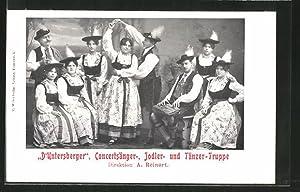 Ansichtskarte Konzertsänger-, Jodler- u. Tänzertruppe D'Untersberger, Zitherspieler