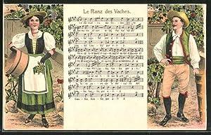 Präge-Ansichtskarte Winzer in Tracht, Lied: Le Ranz