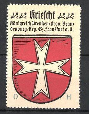 Reklamemarke Kriescht, Königreich Preussen, Prov. Brandenburg, Reg.-Bz.