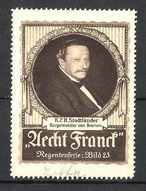 Reklamemarke Aecht Franck Kaffee, Portrait K.F.H. Stadtländer