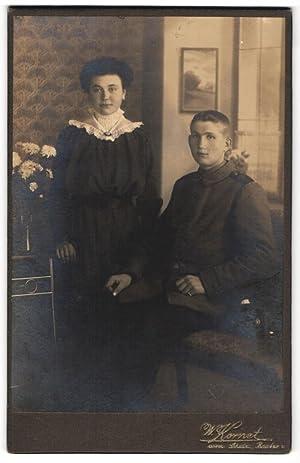 Fotografie W. Kornet, Bautzen, junger Soldat in